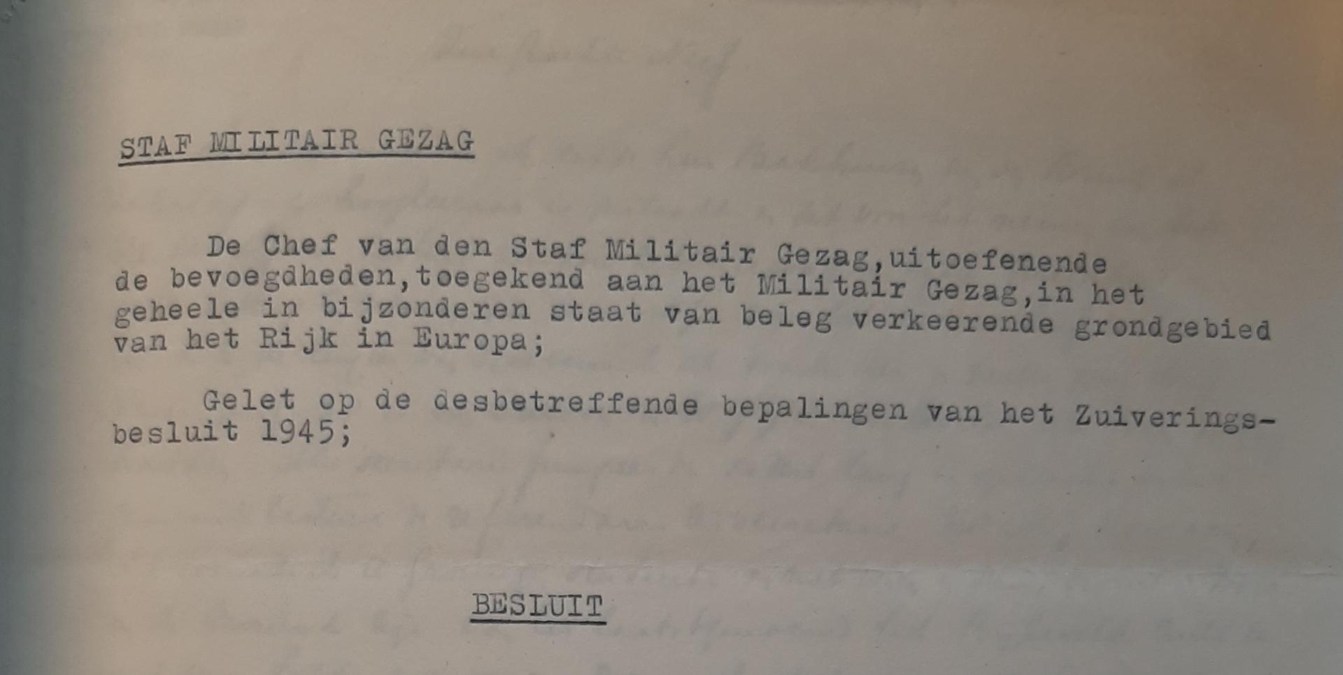Zuiveringen Afb 2 Besluit Militair Gezag
