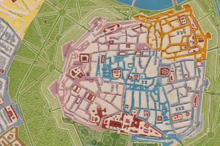 An Embossed Map of Vienna by Georg Bauerkeller