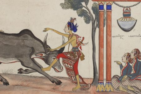 Raden Jaka Tingkir killing a buffalo under watch of the Sultan of Demak