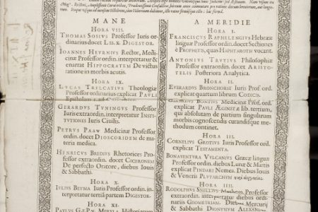 The oldest printed curriculum of Leiden University (1592)